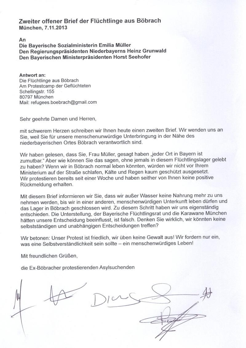 Zweiter Offener Brief Der Flüchtlinge Aus Böbrach Karawane München